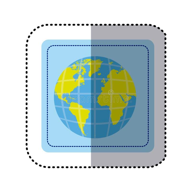 mapa del mundo cuadrado de la tierra del botón de la etiqueta engomada con los continentes en 3d ilustración del vector