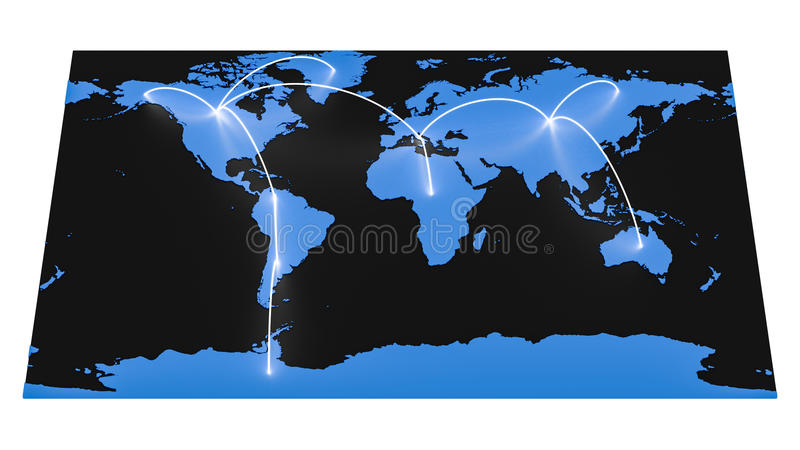 Mapa del mundo de alta tecnología stock de ilustración