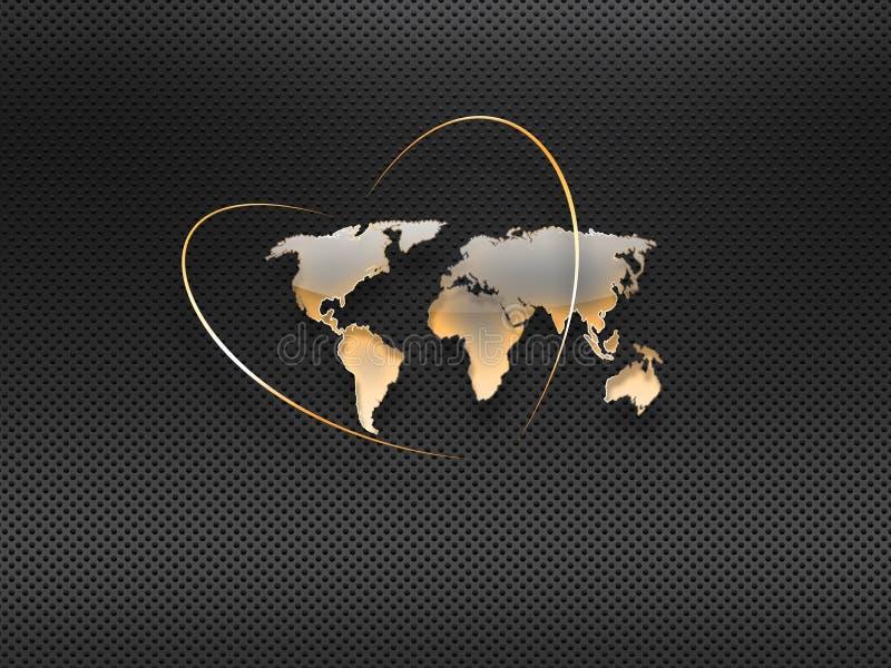 Mapa del mundo de cristal stock de ilustración