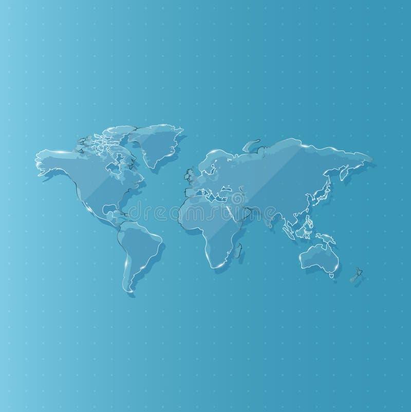Mapa del mundo de cristal para la ciencia y la tecnología contra fondo, vector y el ejemplo ilustración del vector