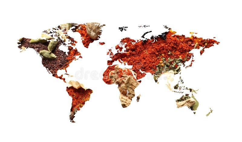 Mapa del mundo de diversas especias aromáticas en blanco Colección creativa fotos de archivo libres de regalías