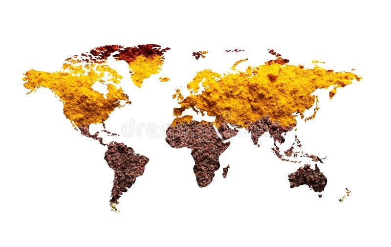 Mapa del mundo de diversas especias aromáticas en pizca Colección creativa imagen de archivo libre de regalías