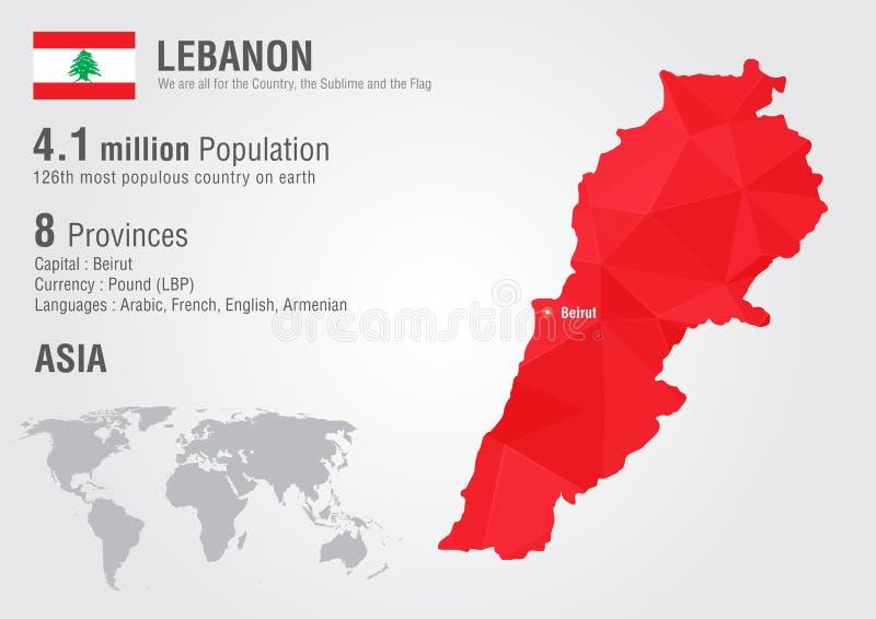 Mapa del mundo de Líbano con una textura del diamante del pixel ilustración del vector
