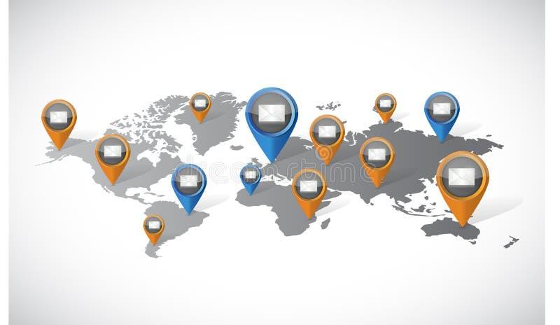 Mapa del mundo de la comunicación de marketing del correo electrónico stock de ilustración