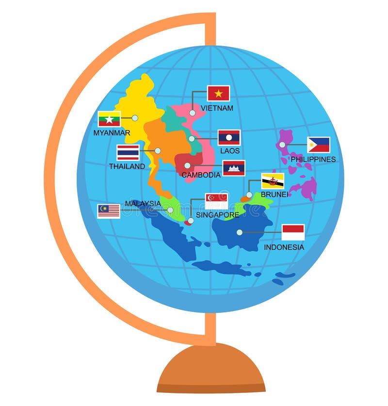 Mapa del mundo de la comunidad económica de la ANSA del AEC stock de ilustración
