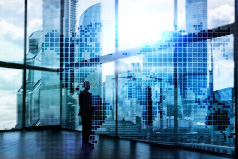 Mapa del mundo de la exposición doble Concepto del negocio global y del mercado financiero fotografía de archivo