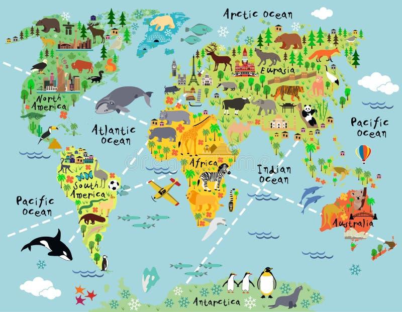 Mapa del mundo de la historieta ilustración del vector