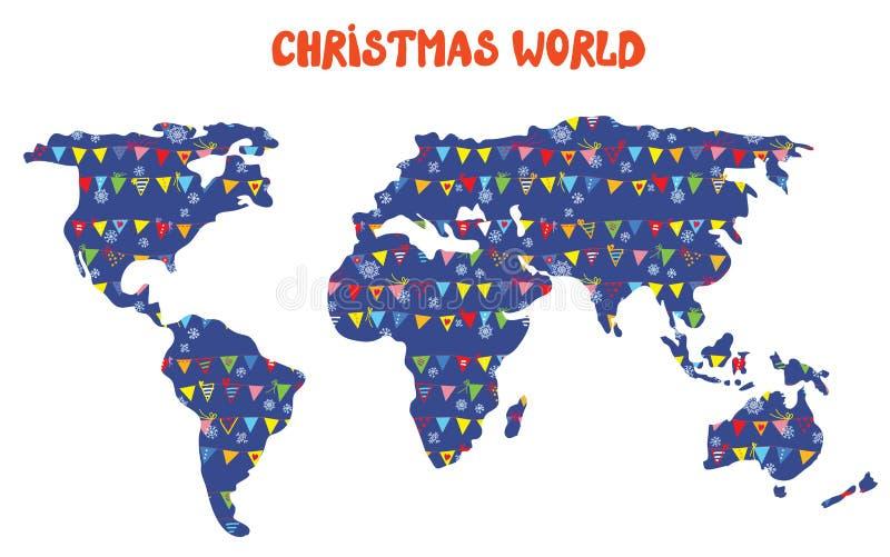 Mapa del mundo de la Navidad con las decoraciones ilustración del vector