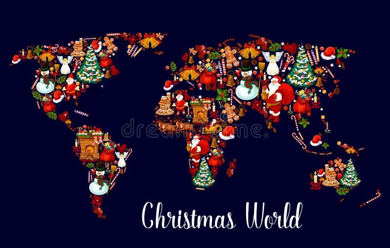 Mapa del mundo de la Navidad con símbolos del día de fiesta del Año Nuevo libre illustration