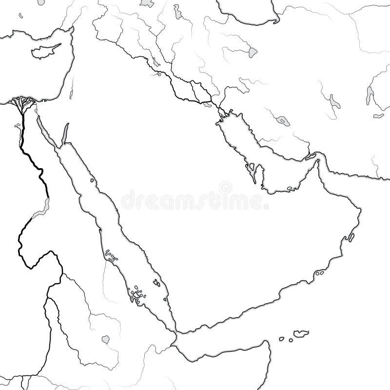 Mapa del mundo de la PENÍNSULA ÁRABE: Medio Oriente, la Arabia Saudita, Iraq, Golfo Pérsico, los emiratos Carta geográfica libre illustration