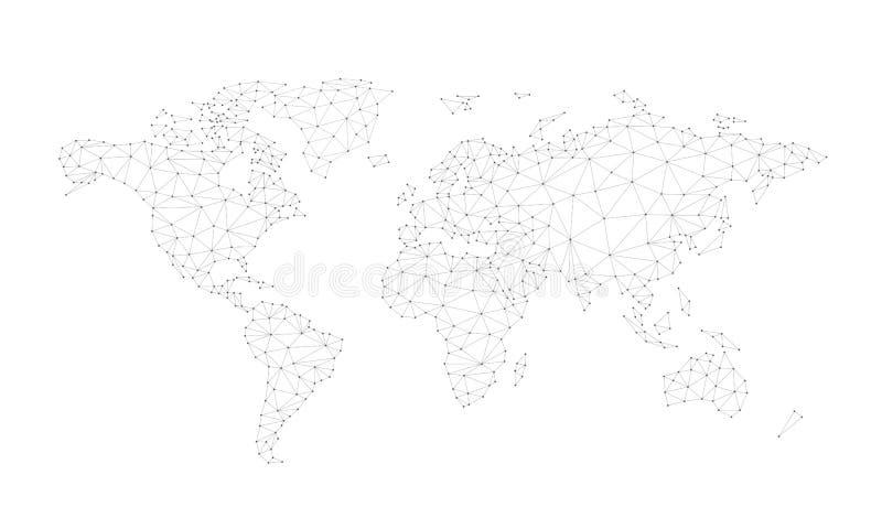 Mapa del mundo de la red del polígono de Blockchain aislado en blanco ilustración del vector