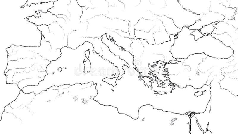 Mapa del mundo de la REGIÓN MEDITERRÁNEA: Southern Europe, Medio Oriente, África del Norte ( Chart) geográfico; ilustración del vector