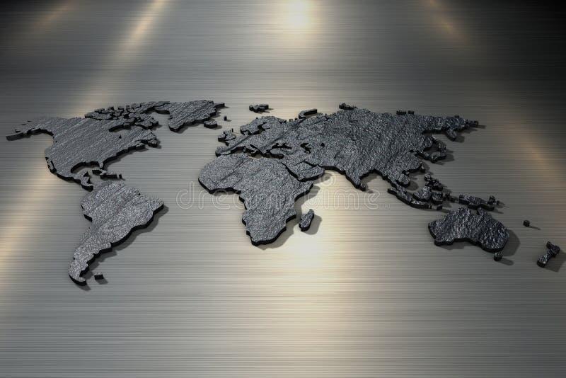 mapa del mundo de la representaci?n 3d de la textura de piedra ?spera ilustración del vector