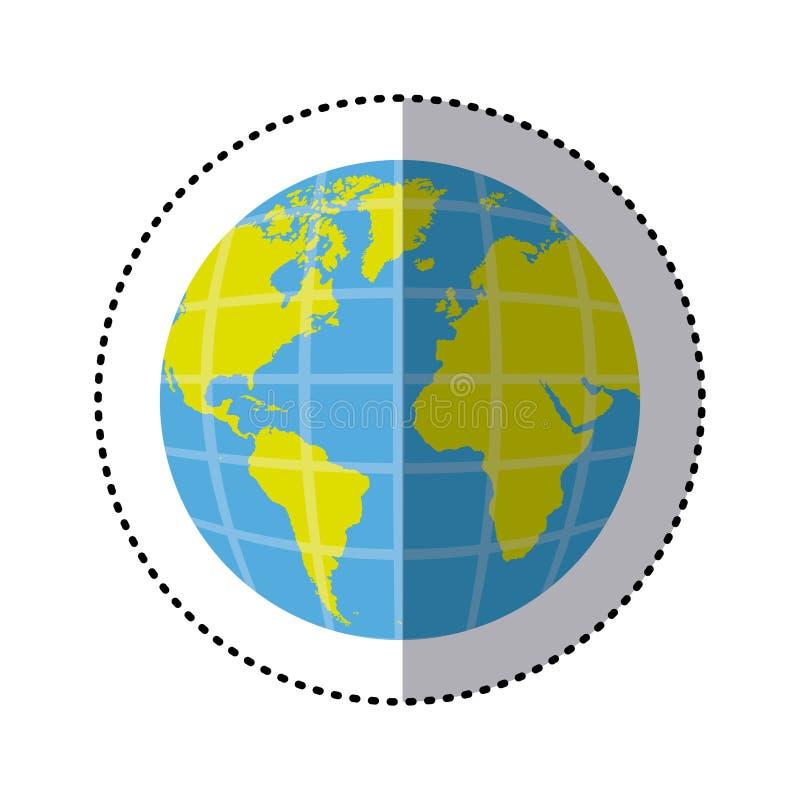 mapa del mundo de la tierra de la etiqueta engomada con los continentes en 3d ilustración del vector