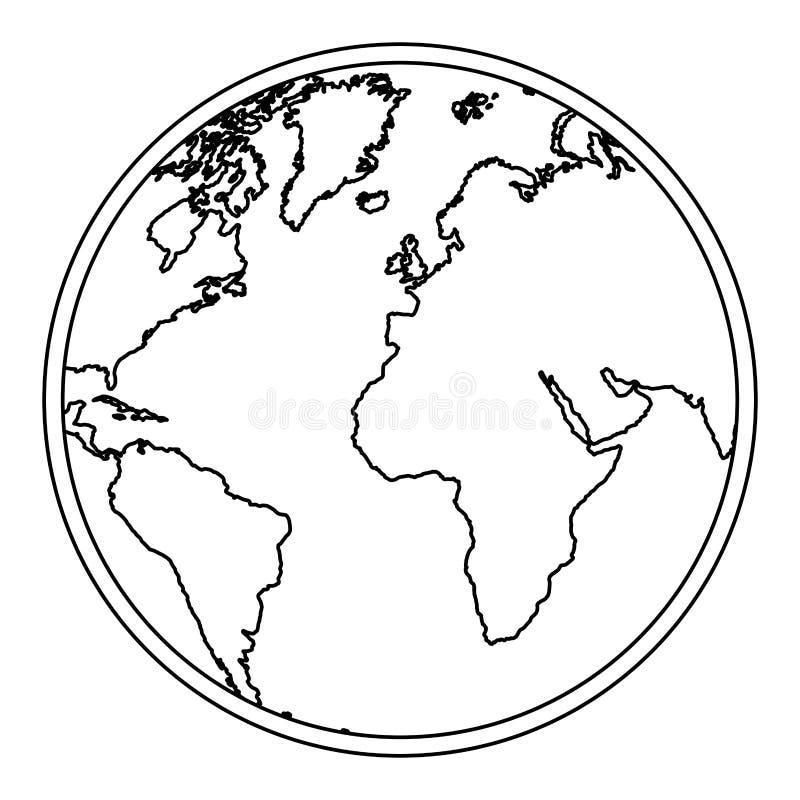 mapa del mundo de la tierra de la silueta con el icono de los continentes libre illustration