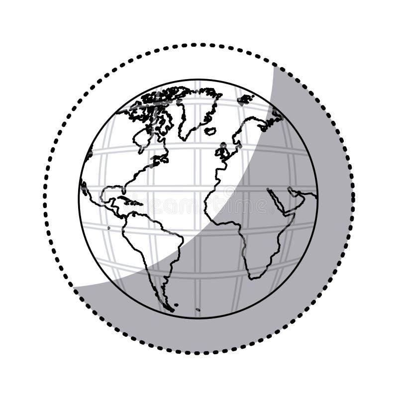 mapa del mundo de la tierra de la silueta de la etiqueta engomada con los continentes en 3d libre illustration