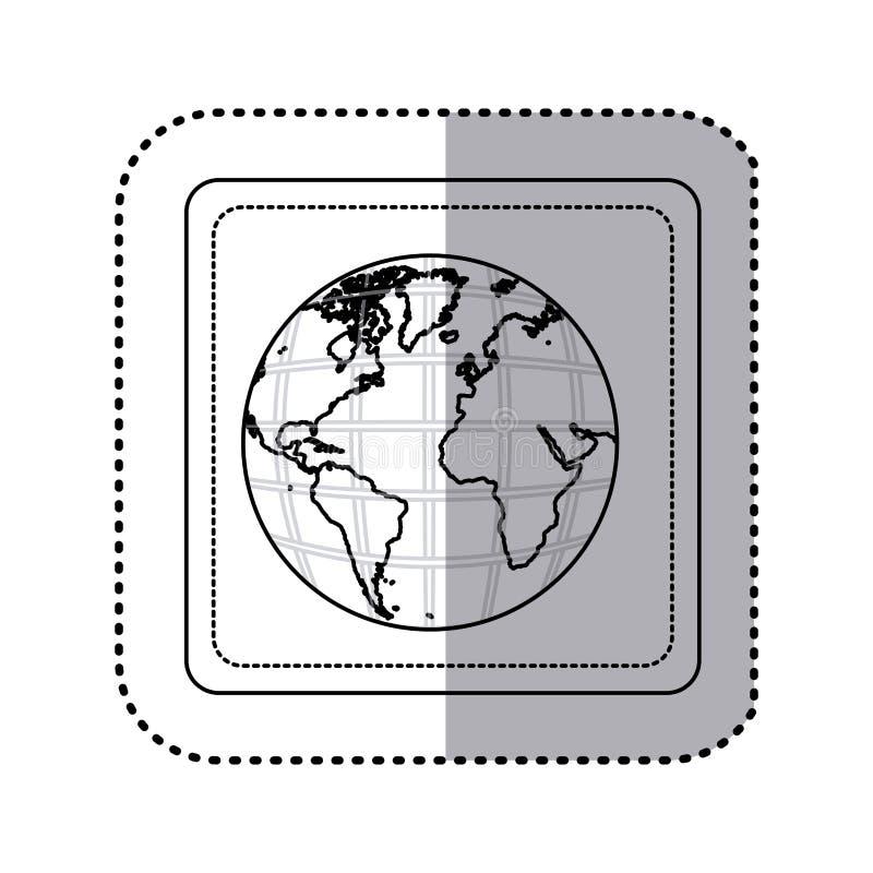mapa del mundo de la tierra del botón del cuadrado de la silueta de la etiqueta engomada con los continentes en 3d stock de ilustración