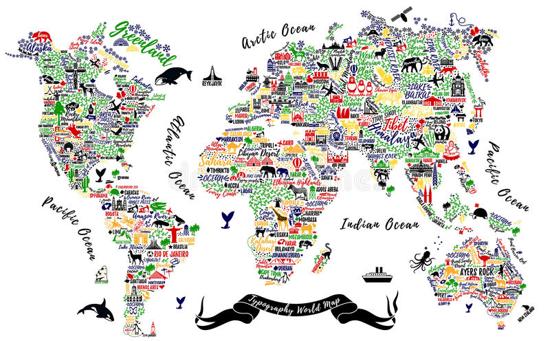 Mapa del mundo de la tipografía ilustración del vector