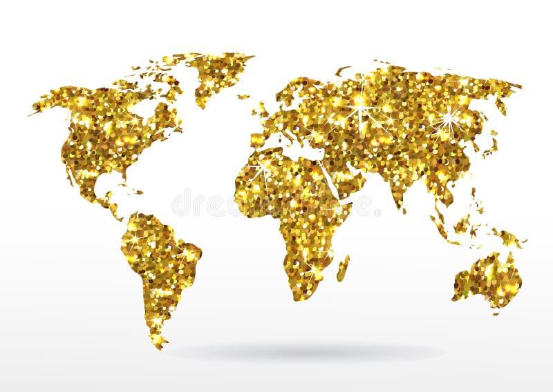 Mapa del mundo de las estrellas que brillan del oro stock de ilustración