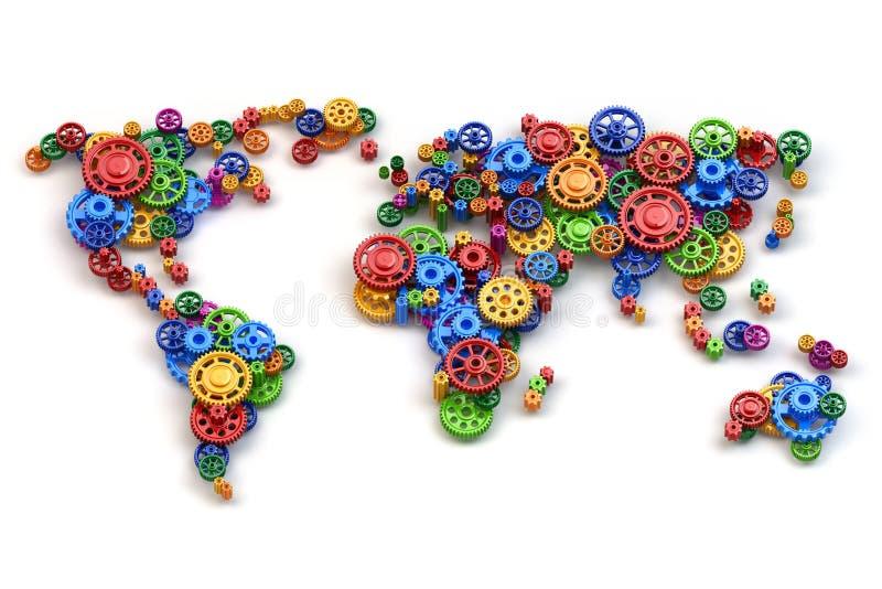 Mapa del mundo de los engranajes Conexiones e inte de la economía global ilustración del vector
