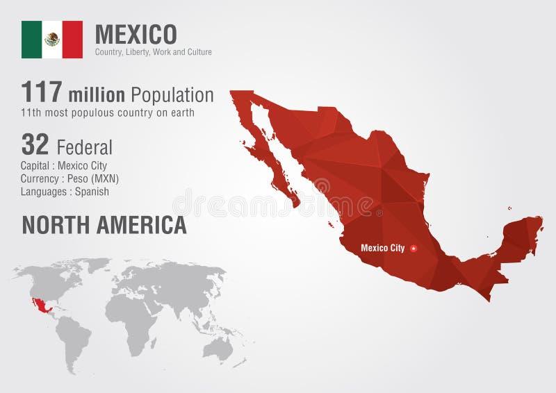 Mapa del mundo de México con una textura del diamante del pixel stock de ilustración