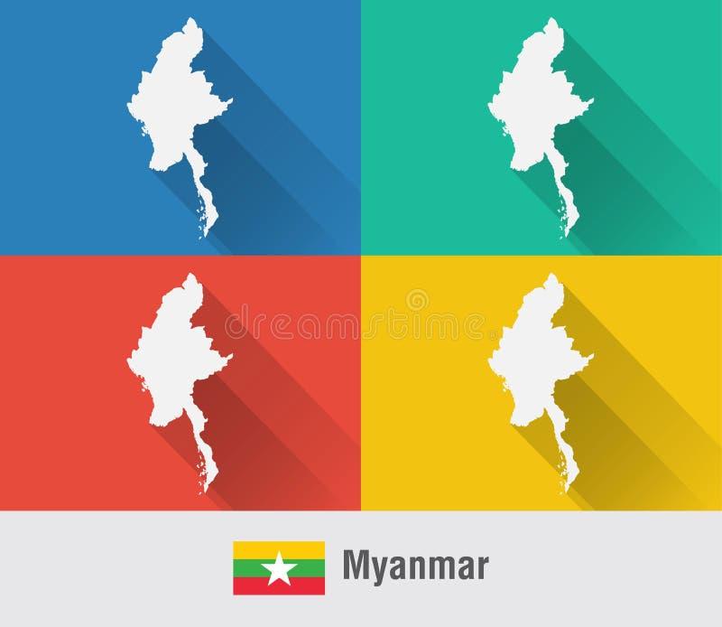 Mapa del mundo de Myanmar Birmania en estilo plano con 4 colores stock de ilustración