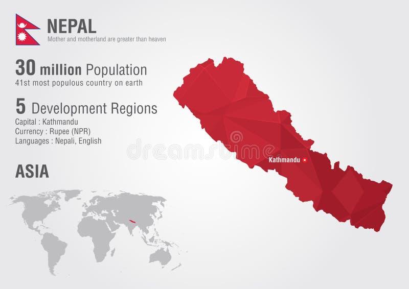 Mapa del mundo de Nepal con una textura del diamante del pixel ilustración del vector