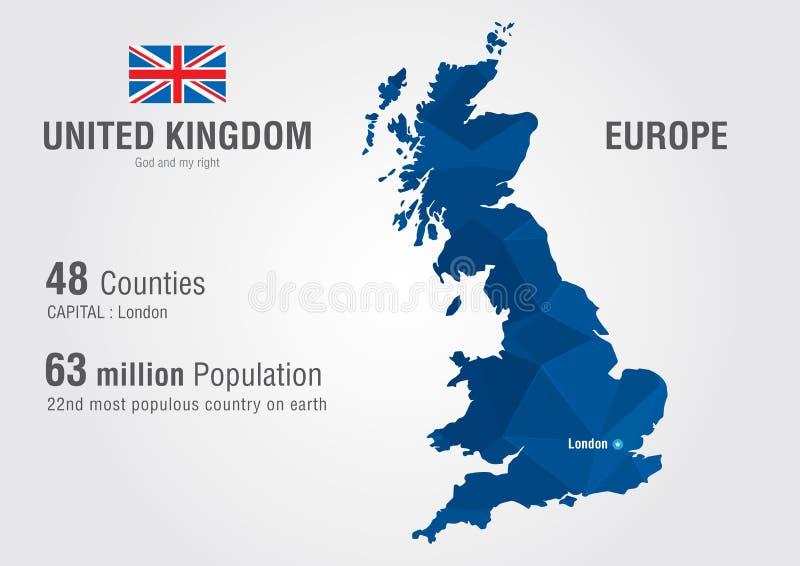 Mapa del mundo de Reino Unido Mapa de Inglaterra con un textu del diamante del pixel ilustración del vector