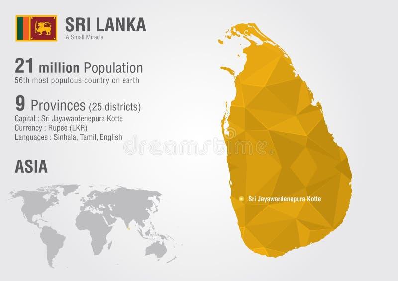 Mapa del mundo de Sri Lanka con una textura del diamante del pixel libre illustration