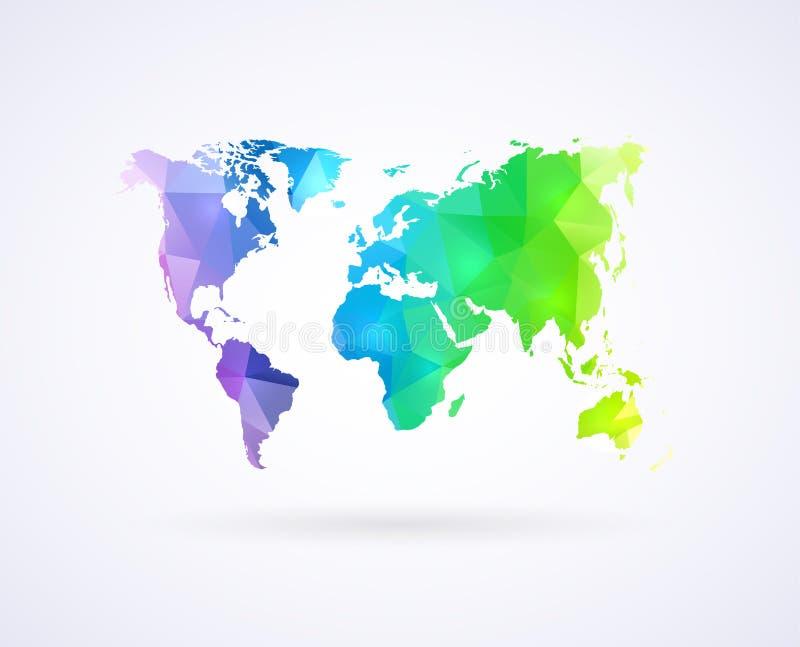 Mapa del mundo del color del arco iris stock de ilustración