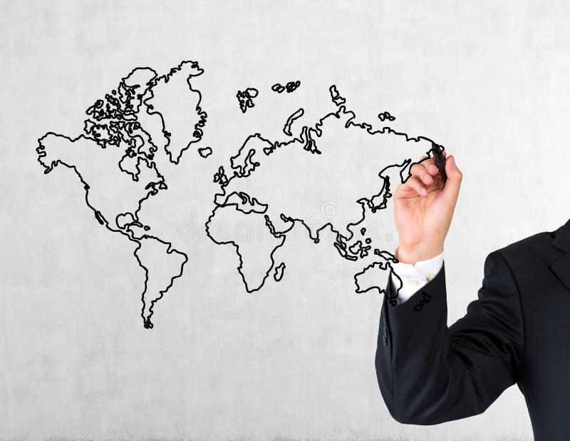 Mapa del mundo del dibujo de la mano imagen de archivo libre de regalías