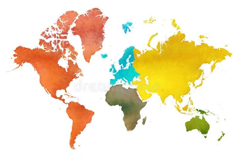 Mapa del mundo del ejemplo y los continentes de la tierra del planeta imágenes de archivo libres de regalías