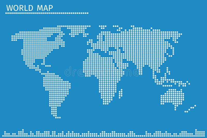 Mapa del mundo del globo de la tierra del ejemplo del vector de los puntos ilustración del vector