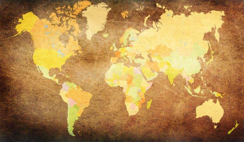 Mapa del mundo del Grunge imagenes de archivo