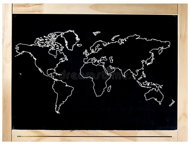 Mapa del mundo del marco de la pizarra aislado imágenes de archivo libres de regalías
