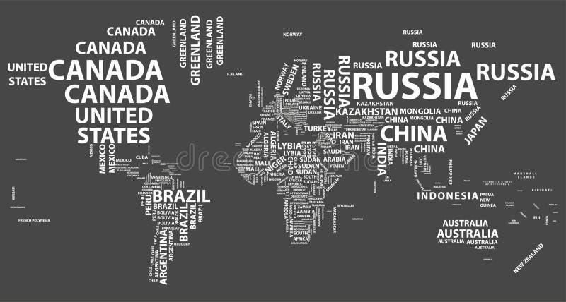 Mapa del mundo del vector con nombres de país en tipografía ilustración del vector