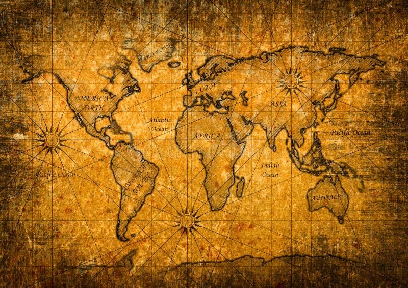 Mapa del mundo del vintage imágenes de archivo libres de regalías