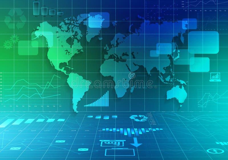 Mapa del mundo e iconos de cartas abstractas ilustración del vector