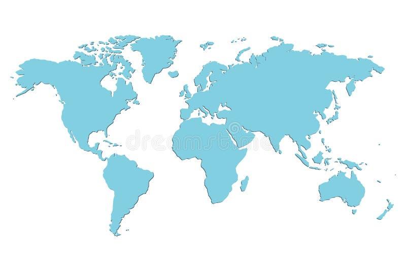Mapa del mundo en blanco azul del vector stock de ilustración