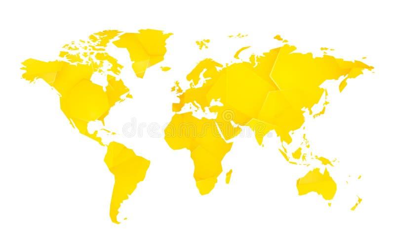 Mapa del mundo en blanco geométrico amarillo ilustración del vector
