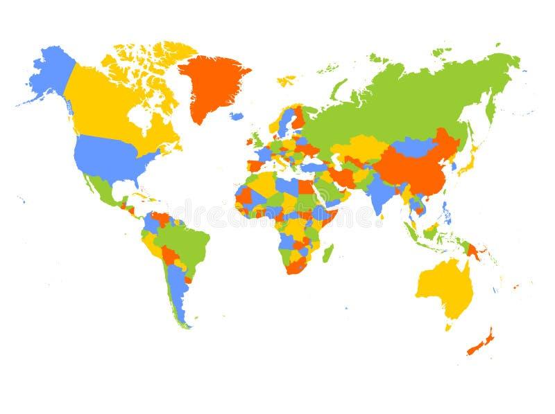 Mapa del mundo en cuatro colores en el fondo blanco Mapa político del alto detalle en blanco Ilustración del vector stock de ilustración