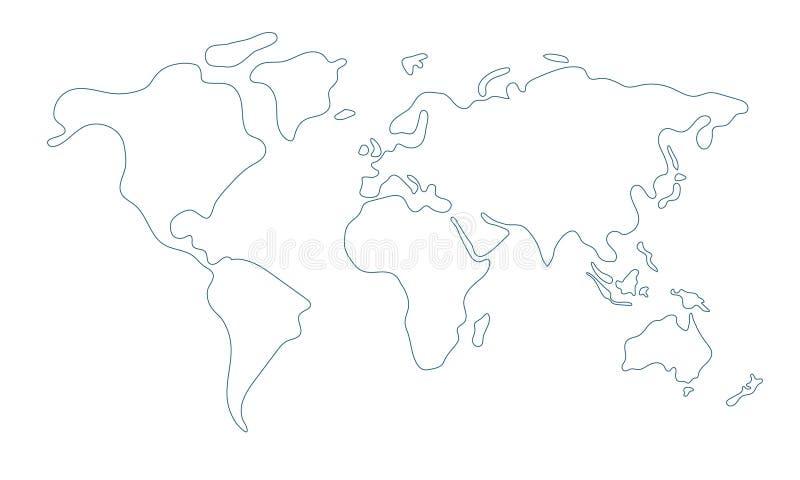 Mapa del mundo en estilo del garabato stock de ilustración