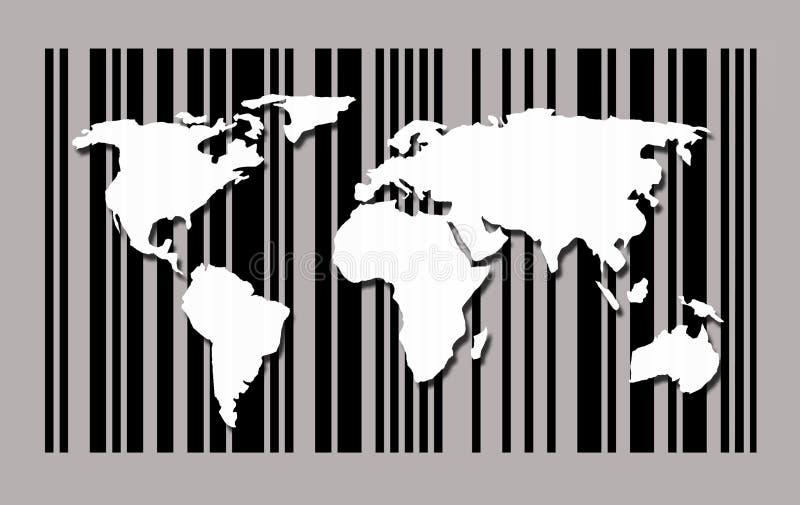 Mapa del mundo en fondo del código de barras stock de ilustración