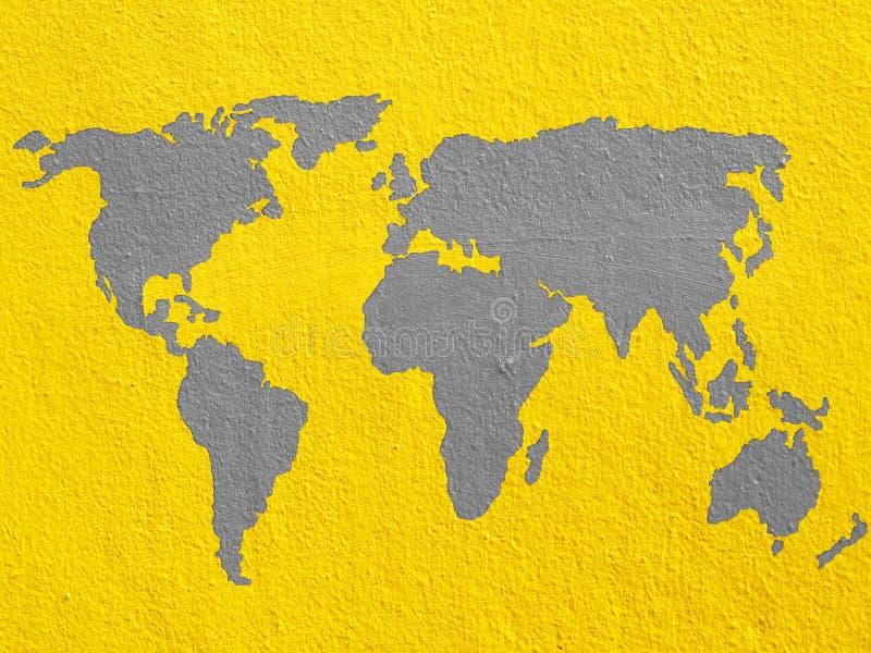 Mapa del mundo en la pared del cemento stock de ilustración