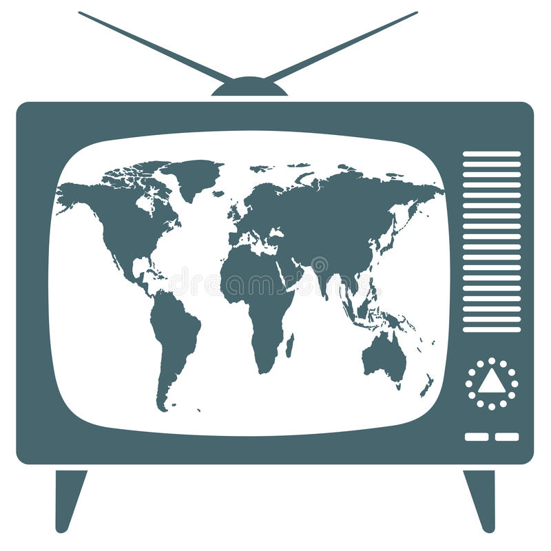 Mapa del mundo en la TV retra stock de ilustración