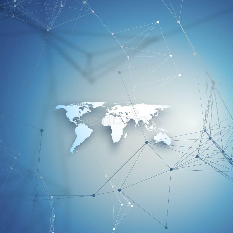 Mapa del mundo en perspectiva con la sombra en azul Conexiones de red global abstractas, concepto de la tecnología de diseño geom ilustración del vector