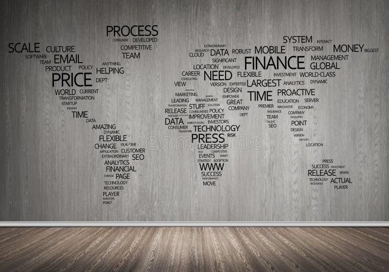 Mapa del mundo en tipografía foto de archivo libre de regalías