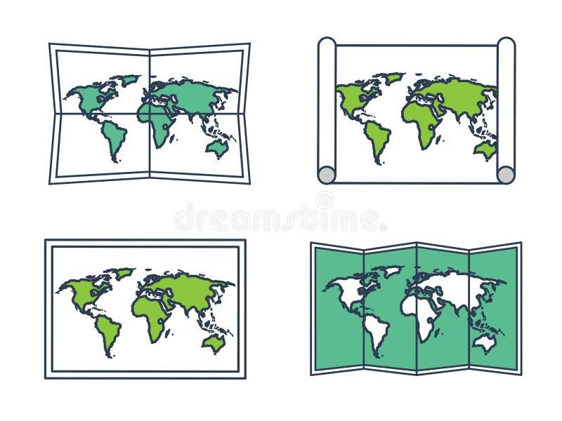 Mapa del mundo en un estilo plano Tierra, globo nearsighted Ruta y destino icono stock de ilustración