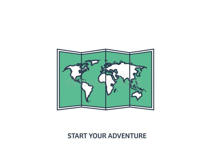 Mapa del mundo en un estilo plano Tierra, globo nearsighted Ruta y destino icono Línea arte alineado libre illustration