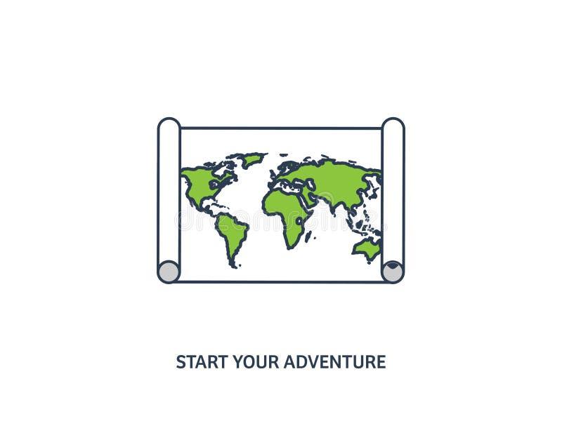 Mapa del mundo en un estilo plano Tierra, globo nearsighted Ruta y destino icono Línea arte alineado ilustración del vector